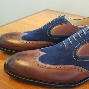 Ace Marks Italian Brown & Blue Suede Wingtip Shoes